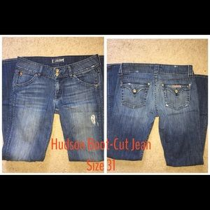 Hudson Distressed Boot-Cut Jeans